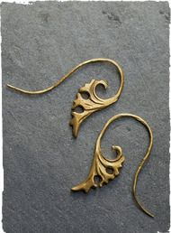 The graceful Ginkgo Earrings are cast of reclaimed metal in a patinaed gold-tone.