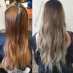 Faded Orange Hair To Ashey Blonde Balayage Before And After Bakersfield