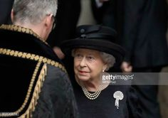 Queen Elizabeth II after the funeral service of Patricia Knatchbull Countess Mountbatten of Burma at St Paul's Church in Knightsbridge on June 27...