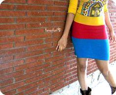 TriColor Jersey Harvest Pencil Skirt  by HarvestGirlLove on Etsy, $45.00
