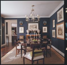 Blue Dining Room Walls Dining Room Design Photo By Interiors Album Plaza Residence Dining Room Navy Blue Dining Room Decor Dining Room Paint Colors, Dining Room Wall Decor, Dining Room Design, Dining Room Furniture, Room Decor, Dark Furniture, Wall Colors, Plywood Furniture, Luxury Furniture