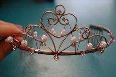 Heart Pearl Beaded Pink Wire Tiara