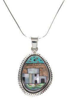 "Native American Pueblo Or Village Design Multicolor Pendant 16"" Italian Chain GS57097"