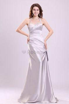 Robe de soirée de princesse manche nulle a-ligne en satin avec zip