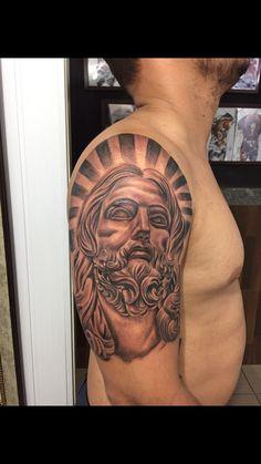 Jesus Tattoo Design, Angel Tattoo Designs, Tattoo Design Drawings, Catholic Tattoos, Religious Tattoos, Jesus Christ Drawing, Daniel Tattoo, Chest Piece Tattoos, Future Tattoos
