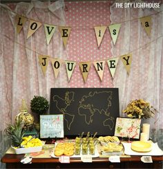 Ideas for how to throw a travel themed bridal shower on a budget. Food, invitation, decor, games. Inexpensive and cheap wedding inspiration. Travel theme.