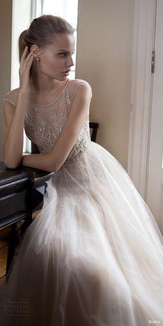 berta bridal fall 2016 sleeveless illusion jewel neck aline wedding dress (16 105) mv