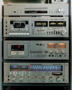 custom stereo set up. Dual cassette player/recorders, cd, am/fm tuner. Som Retro, Audio Room, Audio Sound, Tape Recorder, Record Players, Hifi Audio, Tecno, Vintage Music, Old Tv
