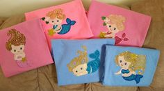 Adorable Merry Mermaids t-shirts with jewels stitched out by Ila Kilen. Sew Inspired by Bonnie http://sewinspiredbybonnie.com/merrymermaids.html