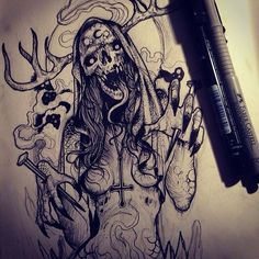 by Grindesign --->… Evil Tattoos, Creepy Tattoos, Skull Tattoos, Leg Tattoos, Body Art Tattoos, Sleeve Tattoos, Tattoo Sketches, Tattoo Drawings, Art Sketches