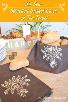 No sew easy linen stenciled bread basket or tea towel hostess gift idea - Thanksgiving, Fall, Autumn Harvest Stencil by Royal Design Studio - styled by H2OBungalow
