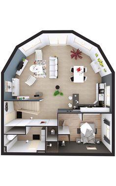 Denah Rumah 206813807875714397 - Maison demi-ronde en bois Source by sgouillou Minecraft Houses Blueprints, House Blueprints, Sims 4 Loft, House Outline, House Construction Plan, Sims 4 House Plans, Container House Plans, 40ft Container, Sims 4 House Design