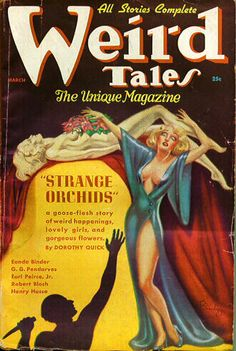 Cover of the pulp magazine Weird Tales (March 1937, vol. 29, no. 3) featuring Strange Orchids by Dorothy Quick. Cover art by Margaret Brundage