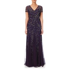 Buy Adrianna Papell Cap Sleeve Beaded Gown, Amethyst from our Women's Dresses Offers range at John Lewis & Partners. Beaded Gown, Adrianna Papell, Wedding Attire, Mother Of The Bride, Cap Sleeves, Vintage Inspired, Amethyst, Tulle, Gowns