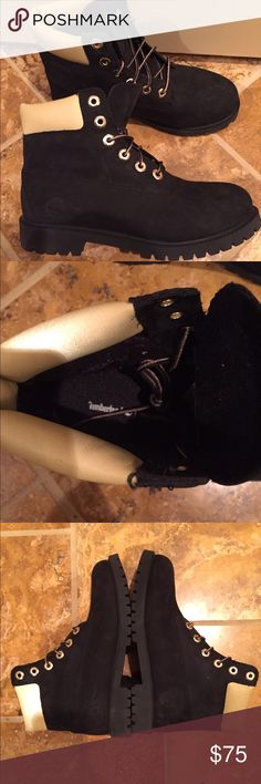 """Timberland 6"""" premium waterproof boots black gold These are grade school size 6.5 so if you are looking for women's it should fit 7.5-8. These are in pristine condition and we're only worn one time so they are an amazing deal! No trades or off posh sales. Don't ask please Timberland Shoes Boots"""