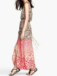 Shop Leopard Print Side Slit Elastic Waist Maxi Dress from choies.com .Free shipping Worldwide.