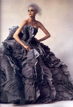 """Vogue describes this Olivier Theysken's masterpiece of a dress by  as having the effect of """"swirled glass"""""""
