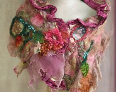 --asymmetric,  romantic collar/cowl  or small cape from wavy nuno felted silks, lace, hand embroidered