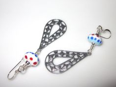 Red White and Blue Handcrafted Lampwork Glass by BlueberryBayBeads, $28.00