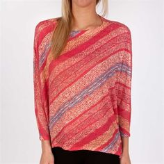 Nally & Millie Striped Open Stitch Top #VonMaur #NallyAndMillie #Multicolored #Oversized