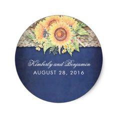 #country - #Rustic Sunflower Burlap Navy Wedding Classic Round Sticker