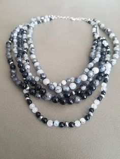 Labradorite & Moonstone Short Beaded Necklace Multi Strand
