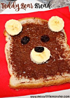 Teddy bear bread is a fun, no cook snack for kids. A simple food idea kids can cook themselves. Great for a teddy bears picnic or after school snack. A fun activity for a bear theme and to go with the book 'Time for Sleep' by Denise Fleming. Toddler Meals, Kids Meals, Toddler Food, Preschool Cooking Activities, Food Activities For Toddlers, Nutrition Activities, Teddy Bear Day, Teddy Bear Crafts, Little Lunch
