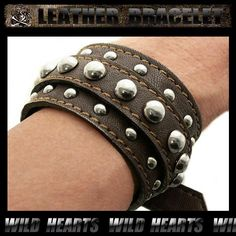 Leather Bracelet/Leather Wrist Band /Brown/Cowhide leather&Metal studs http://item.rakuten.co.jp/auc-wildhearts/lb1518r32/