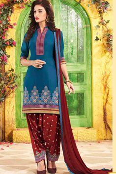 Blue & Red Unstitch Cotton Patiala Suit
