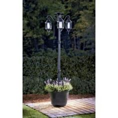 Sunergy Solar Lamp Post with Planter Base (50400356) - Outdoor ...