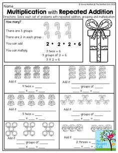Multiplication as repeated addition tpt store pinterest multiplication and repeated addition tons of great worksheets in the december no prep packets ibookread PDF