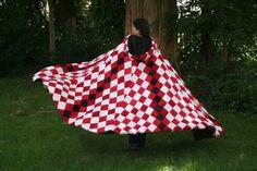 Red & White Diamond  Velvet Cloak Cape by CloaknDragon on Etsy