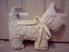 Tan Beige Dog Pillow Cabin Craft Vintage Chenille