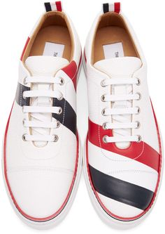 e39dc45c6aff Thom Browne - White Diagonal Stripe Straight Toe Cap Sneakers