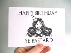 Handmade Game of Thrones Birthday Card featuring Jon snow and the silly pun: Happy Birthday, Ye Bastard! Would make a funny birthday card for Game of Throne Fans, him, her, friend, wife, husband and more!  You will receive a 4 x 6 card on 200gsm white matt card and matching gold envelope.   Please note the following delivery aim estimates from Royal Mail from the date of item posted: US 1st Class: 1 working day UK 2nd Class - 1-3 working days USA: 5 - 7 working days *Please note, delivery…