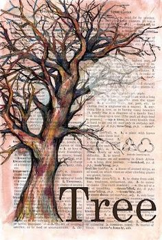 flying shoes art studio: painting on dictionary paper art Book Page Art, Book Art, Newspaper Art, Dictionary Art, Tree Art, Tree Of Life Art, Art Plastique, Medium Art, Painting & Drawing