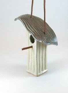 Pottery Birdhouse - Stoneware Bird House - Yellow - 283 via Etsy