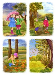 Podzimní příroda 4 Year Old Activities, Library Activities, Autumn Activities, Drawing School, Drawing For Kids, Art For Kids, Sequencing Pictures, Sequencing Cards, Preschool Weather Chart