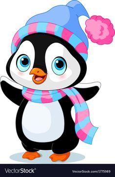 Cute winter penguin vector image on VectorStock Penguin Drawing, Penguin Cartoon, Cartoon Pics, Cute Cartoon, Penguin Clipart, Art Drawings For Kids, Drawing For Kids, Animal Drawings, Art For Kids