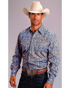ea14c22a Stetson Men's Blue Paisley Long Sleeve Snap Shirt - 11-001-0425-0218
