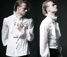 Goth Punk Rave Victorian White Shirt Men's Gents Medieval Ruffle Jabot