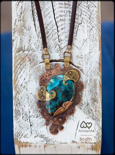 SALE: Rustic copper necklace with chrysocolla by AnniamAeDesigns