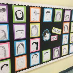 Wonder Wall self portraits after reading Wonder by RJ Palacio. Choose Kind!