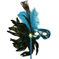 Amazon.com: Turquoise Blue Sequin Masquerade Feather Mask: Clothing
