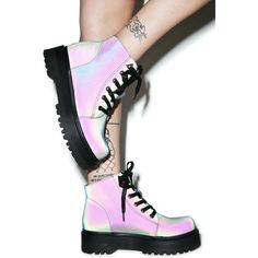 Y.R.U. Slayr Boots ($135) ❤ liked on Polyvore featuring shoes, boots, laced up boots, lace-up platform boots, platform combat boots, military lace up boots and platform shoes