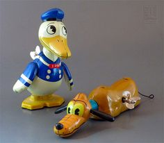 Disney ~ retro styled DONALD DUCK & PLUTO tin wind-ups