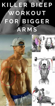 Shock Your Biceps And Triceps Into Growing Bigger And Stronger With This Complete Arms Workout Every guy wants bigger arms. Either they have no clue what they're doing, or they know what they should. Killer Bicep Workout, Big Biceps Workout, Gym Workout Tips, Biceps And Triceps, Weight Training Workouts, Ab Workout At Home, Fitness Workouts, At Home Workouts, Insanity Fitness