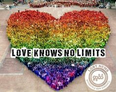 Rainbow heart made up of people...so so awesome