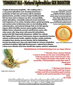 #RealLifeStories of #HolisticHealing From our Super Clients:  ***Reviews from a Cancer Patient: *I want to thank you for your outstanding herb.  I had my prostate cancer removed years ago. Your Tongkat Ali powder did wonder on my sexual life. I had immediate result after took it. Thank you! - William  ***Reviews from Doctor: *I have to tell you I tried a half tsp of your product and felt an immediate good reaction similar to the extract powders I have used. I was just trying to understand…