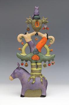 Donkey Tree of Life ceramic figure by Sara Swink